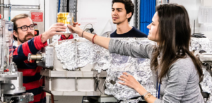 Young researchers on a beamline