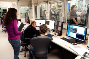 Students working alongside scientists and engineers at ESRF beamline ID21.